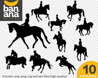 SALE Equestrianism Silhouettes png jpg svg eps files high resolution BV-SP-0018