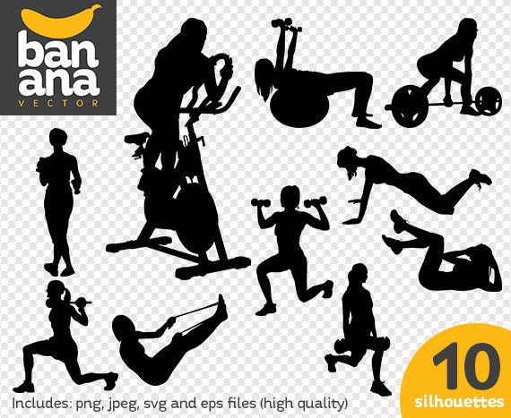 sale women exercising 4 silhouettes png jpg svg eps files