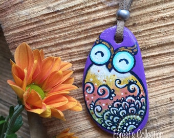 Owl-stone handpainted necklace