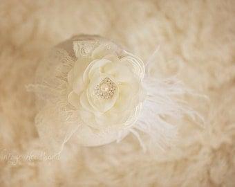 Cream Baby Headband. Anastasia Cream Baby Girls Headband. Pearl Crystal Feather Headband. Baby Cream Wedding Christening Bridesmaid Headband