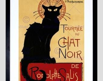 Chat Noir Print 1896 / Bohemian Art / French Poster / Black Cat Print / Theophile Steinlen / Vintage Print / Cabaret FE915PY