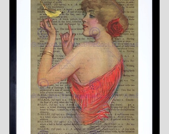 Upcycle Dictionary Woman Red Dress Bird Framed Art Print Poster F12X10570