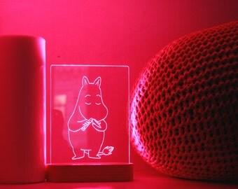 Mumi Troll acrylic 3d LED Table Lamp, bedroom Night Light, bedside Night Lamp, Decorative modern Lighting, wood LED Lamp, Desk Decor