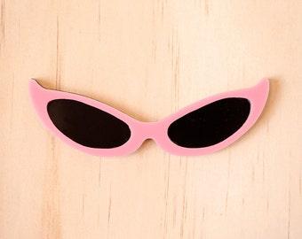 Pink Cat Eye Sunglasses Brooch