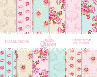 Digital Paper Shabby Chic Floral scrapbook background
