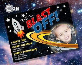 Space Blast Off Printable Birthday Invitation