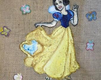 Snow White Glittery Jute Bag