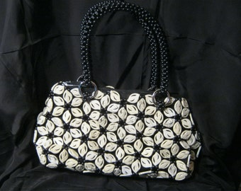 Beaded Purse Evening Handbag White Flowers Stylish Unique