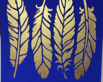 Gold feather on blue