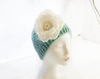 French Blue ~ Knitted Cloche Hat Crocheted Flower Beanie Accessories Blue warm hat winter hat blue winter hat blue beanie blue newsboy hat