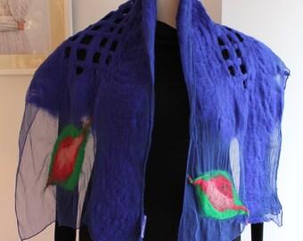 Scarf, felt, purple blue