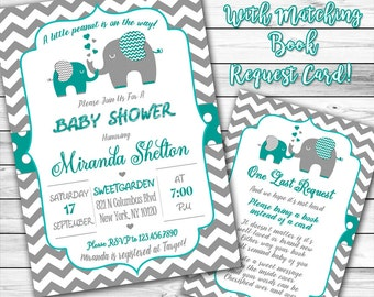 Elephant Baby Shower Invitation, Teal and Gray Elephant Baby Shower Invitation, Gender Neutral Baby Shower, Little Peanut, Book instead