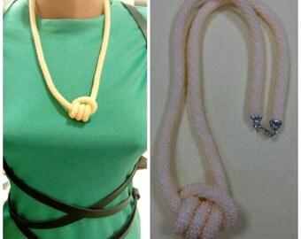 Crochet rope necklace. Peach necklace. Double overhand knot neklace