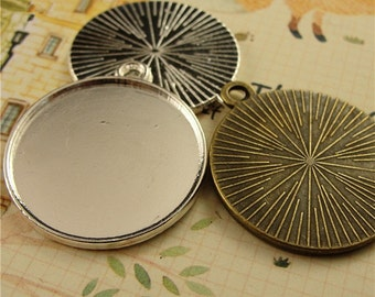 "40pcs 25 mm 1 inch 1"" Round Zinc Alloy Pendant Trays  Antique Style Pendant Blanks Bezel Setting"