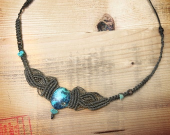olive green macrame necklace with turquoise, healing stone
