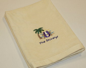 Personalized Nautical Themed Palm Tree with Beach Chair Premium Velour Hand Towel