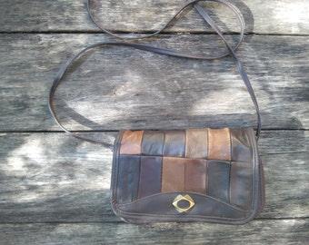 Brown Patchwork Purse, Vintage Brown Patchwork Purse, Brown Leather Shoulder Bag