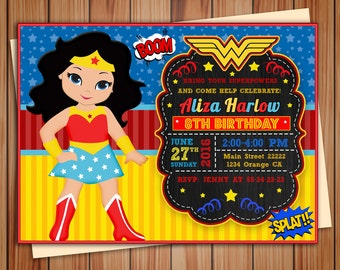 Wonder girl, Super Girl invitation, Wonder girl digital chalkboard invitation, party invitation, Thank you card free!