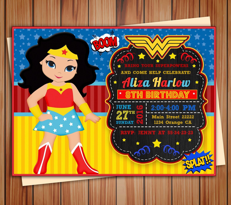 Wonder girl Super Girl invitation Wonder girl digital