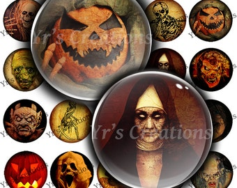 Spooky Halloween Circles 1.5 inch Skulls and Creepy Monsters Digital Download for Art, Stickers, Magnets and Mixed Media