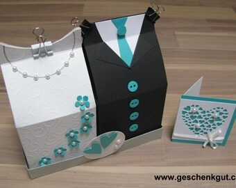 Creative gift wrapping for monetary gift or coupon - wedding dress and suit