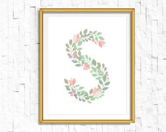 Instant Download Personalized Name Nursery Printable Monogram Art Print | Custom Nursery Printable Monogram Floral Letter S | FA-749 S-128P