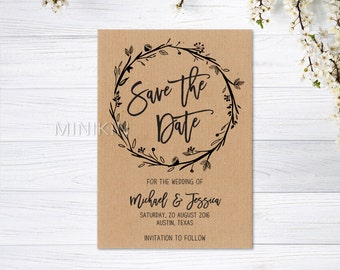 Save The Date, Rustic Save The Date, Save The Date, 100% Recycled, Personalized Wedding, Save The Date, Ribbed Brown x 20
