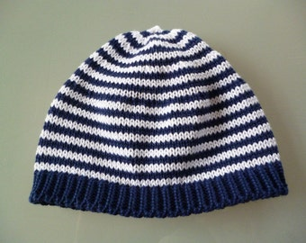 "Baby Cap ""stripes of blue and white"""