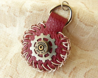 Red Bonded Leather Zipper Pull with Bullet