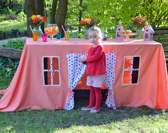 Coral tablecloth/ Table cloth Play house/ Children play house/ Baptism Tablecloth/ Birthday Table cloth/ Kids play  fort/ Kids play tent