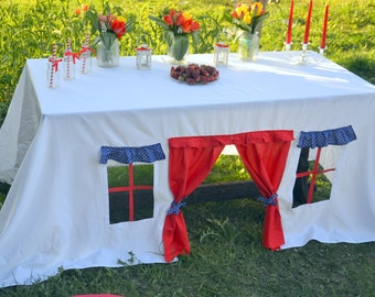 Christmas tablecloth/ Tablecloth Playhouse/ Baby shower tablecloth/ Birthday party tablecloth/ Children playhouse/ July 4th party
