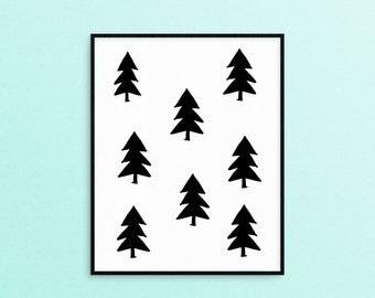 Forest Trees - Simple Wall Art//Print - Adventure Outdoors - Nursery//Kids Bedroom Decor- Black + White - Digital Download//Printable
