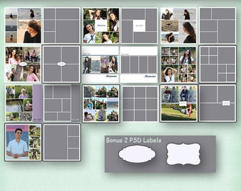 12x12 Photo Album Template Pack, 10 Templates, Photo Collage, Yearbook Templates, Photoshop Templates, Photo Template, Scrapbook Templates