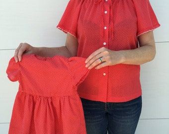 Rare Mommy and baby girl matching vintage blouse and dress
