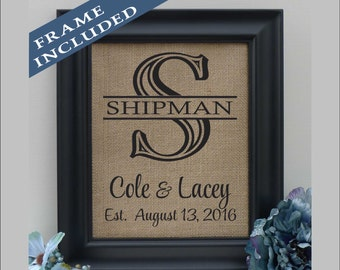 Bridal Shower Gift Burlap Art | Burlap Monogram | 10 Year Anniversary | Personalized Wedding Gift Idea for Couple | Est. Sign (pnb201s)
