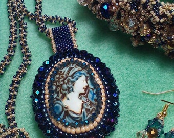 Bead embroidered porcelain cameo with a ruffled bracelet and matching crystal earrings
