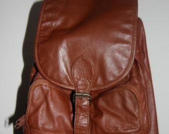 Old real leather vintage boho backpack