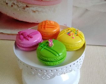 Set of 4 magnets macaroons pastel in fimo