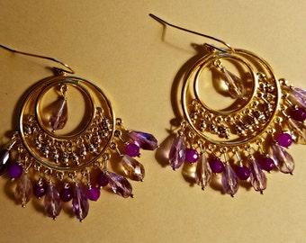 Purple Jade and Ametrine Earrings
