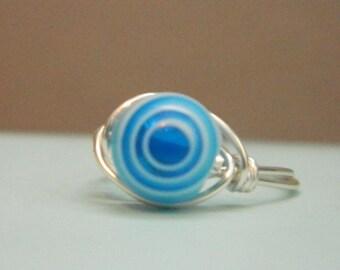 Blue Bulls-eye Ring