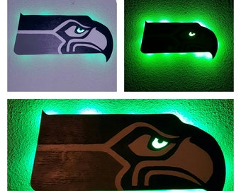 Seattle Seahawks wooden battery powered LED lit sign