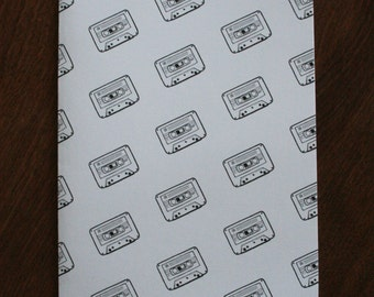Retro 90s Cassette Greeting Card - Old School Music - Cassette Tape Pattern - Hand Drawn Blank Card