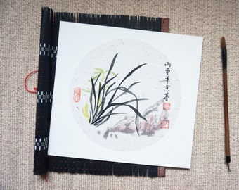 Chinese ink painting- relaxing time-flowers, orchid, 蘭花, zen, 25x27cm, Home decoration