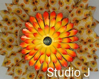 Yellow/Orange Sunflower Wreath. Printed Burlap