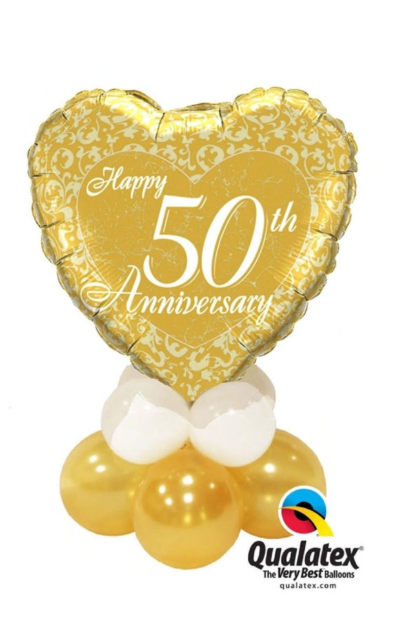 50th Wedding Anniversary Balloon Table Decoration Air Only Easy Diy 22 Tall From Balloonarama