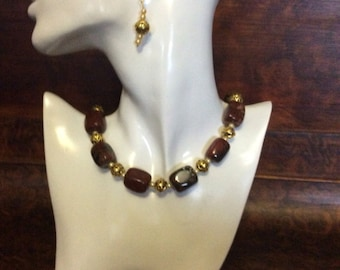 Fire Agate necklace and earings