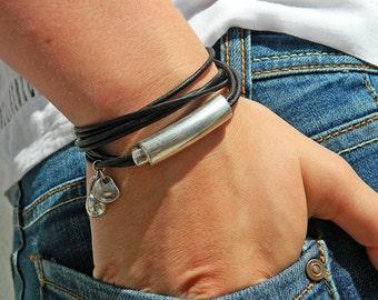 Wrap Boho bracelet,wrap bracelet,leather wrap bracelet,beaded wrap bracelet,leather bracelet, silver plated,beaded bracelet,PC001