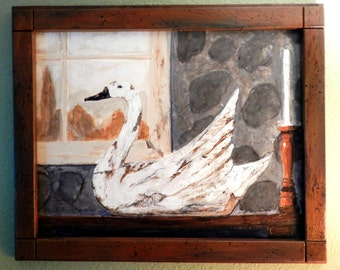 Swan decoy, Swan paintings, paintings of swans, old wooden decoys, this painting of a carved swan shows the wood and worn paint. Wooden swan