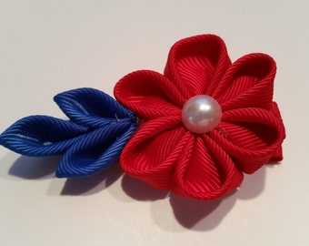 Red White and Blue Kanzashi flower hair clip