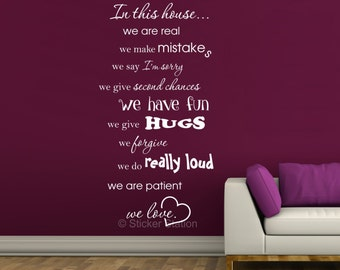 In This House... House Rules Wall Art Sticker